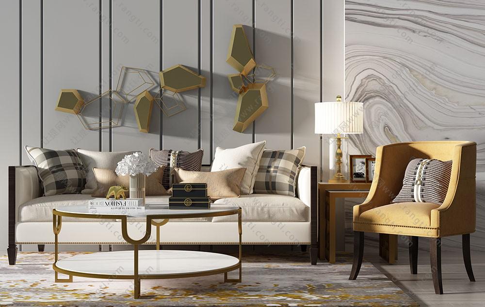 新中式多人沙发、茶几和美式沙发椅组合3D模型