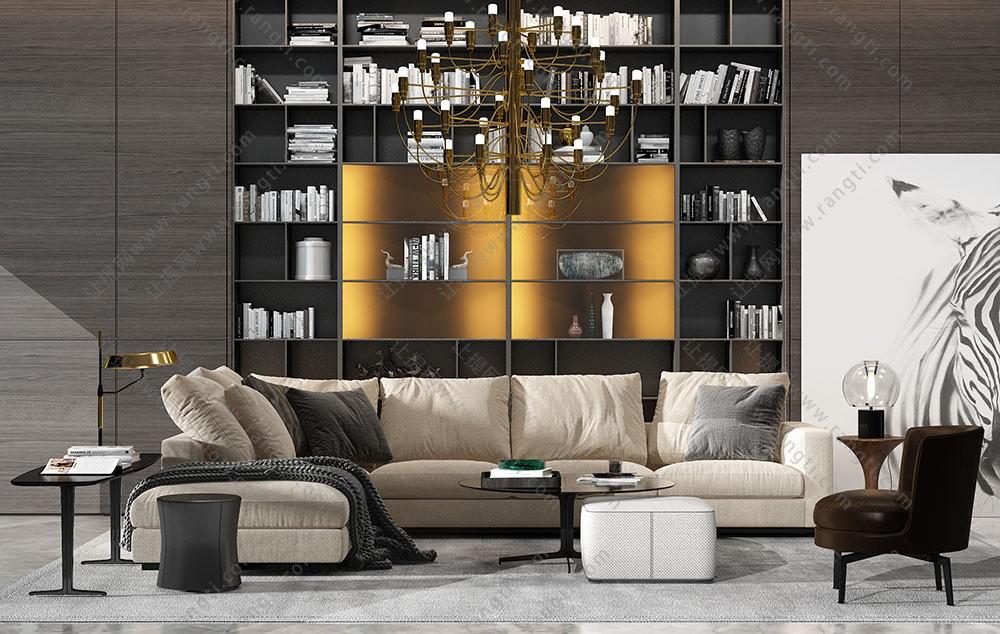 现代转角沙发、坐墩、写字桌、轻奢吊灯和玻璃台灯组合