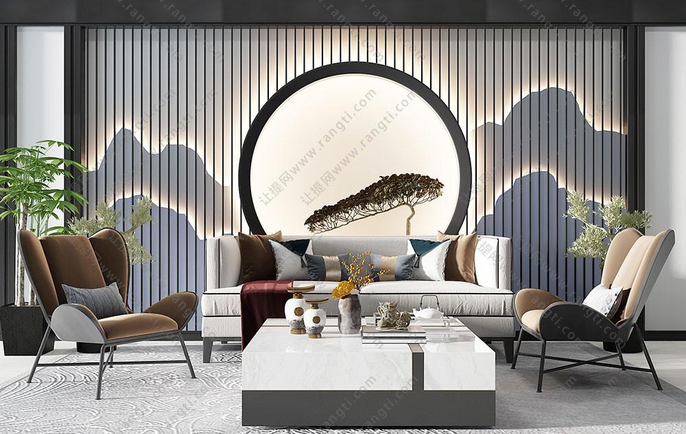 新中式沙发、休闲椅、茶几和背景墙组合3D模型下载
