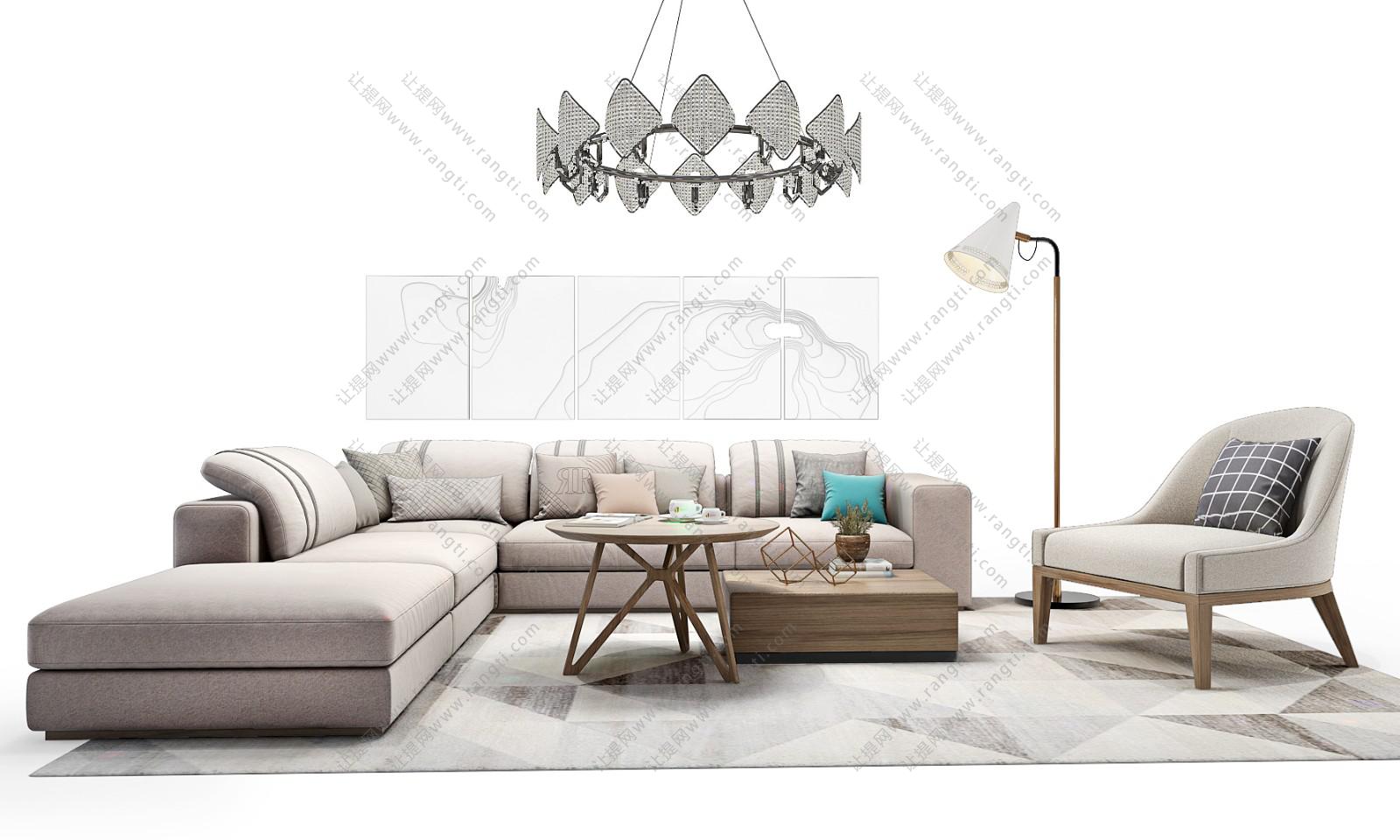 北欧简约沙发、茶几、装饰画和吊灯组合3D模型