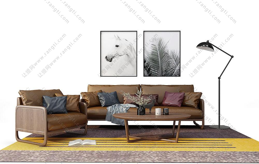 北欧简约沙发、茶几和装饰画组合3D模型下载
