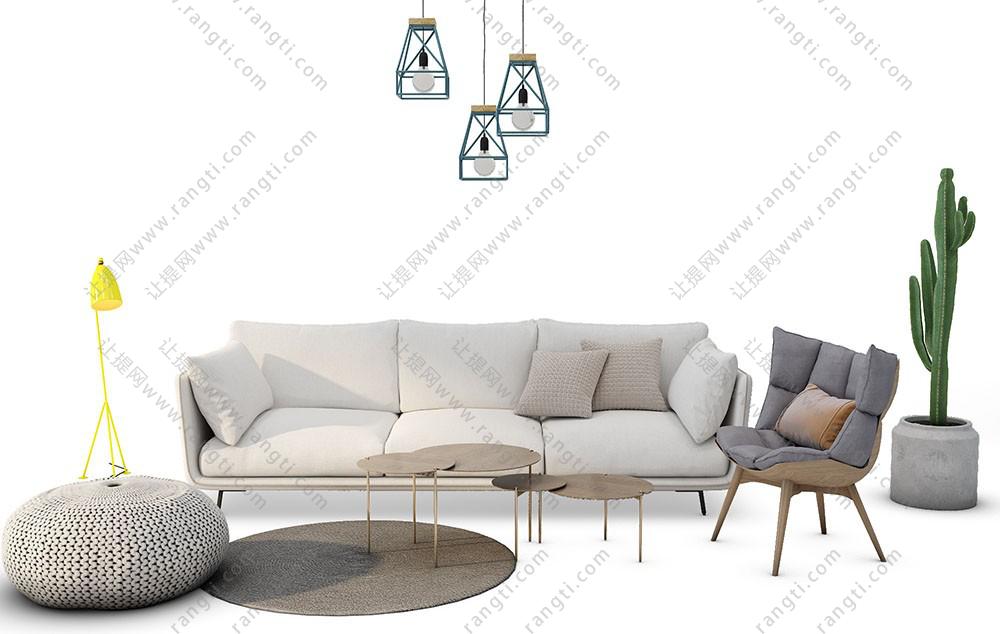 北欧现代沙发、茶几、坐垫和吊灯组合3D模型