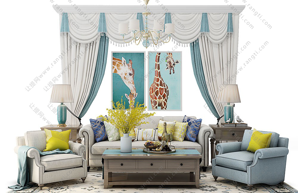 欧式沙发、茶几、窗帘和装饰画组合3D模型