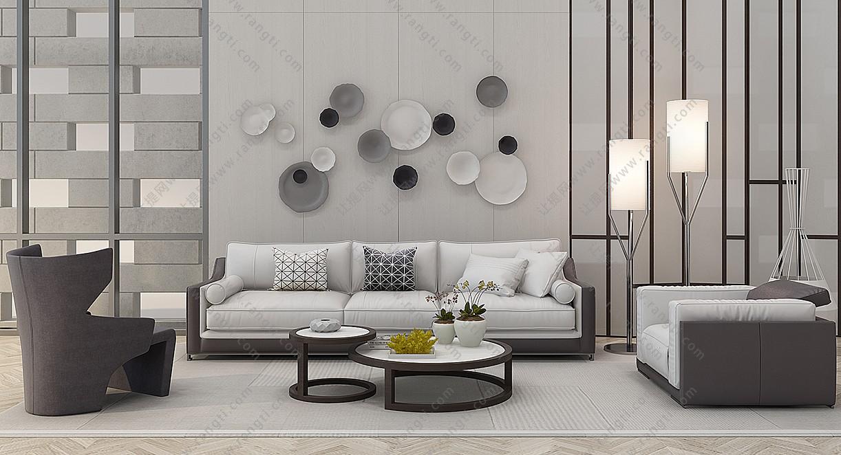 现代布艺沙发、茶几、墙饰和落地灯组合3D模型下载