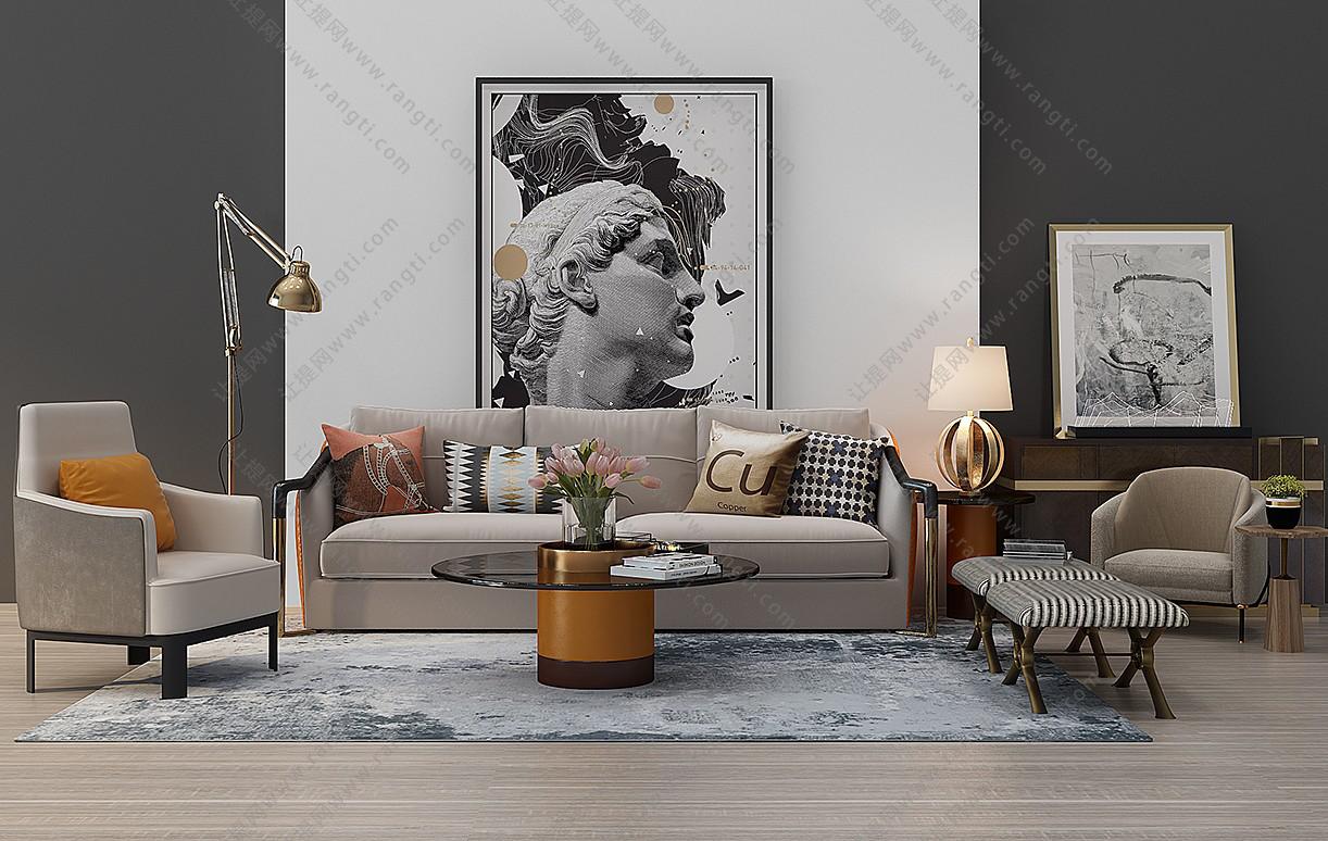 现代轻奢沙发、茶几、休闲椅和台灯组合3D模型