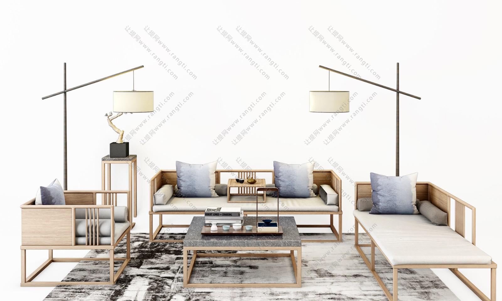 新中式沙发、茶几、地毯和台灯组合3D模型下载