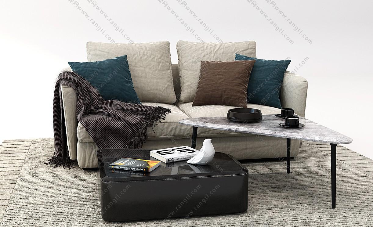 现代布艺沙发、茶几和坐垫组合3D模型
