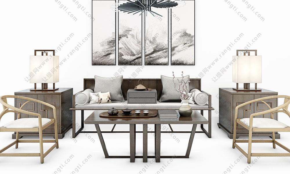 新中式沙发、茶几、圈椅和台灯组合3D模型