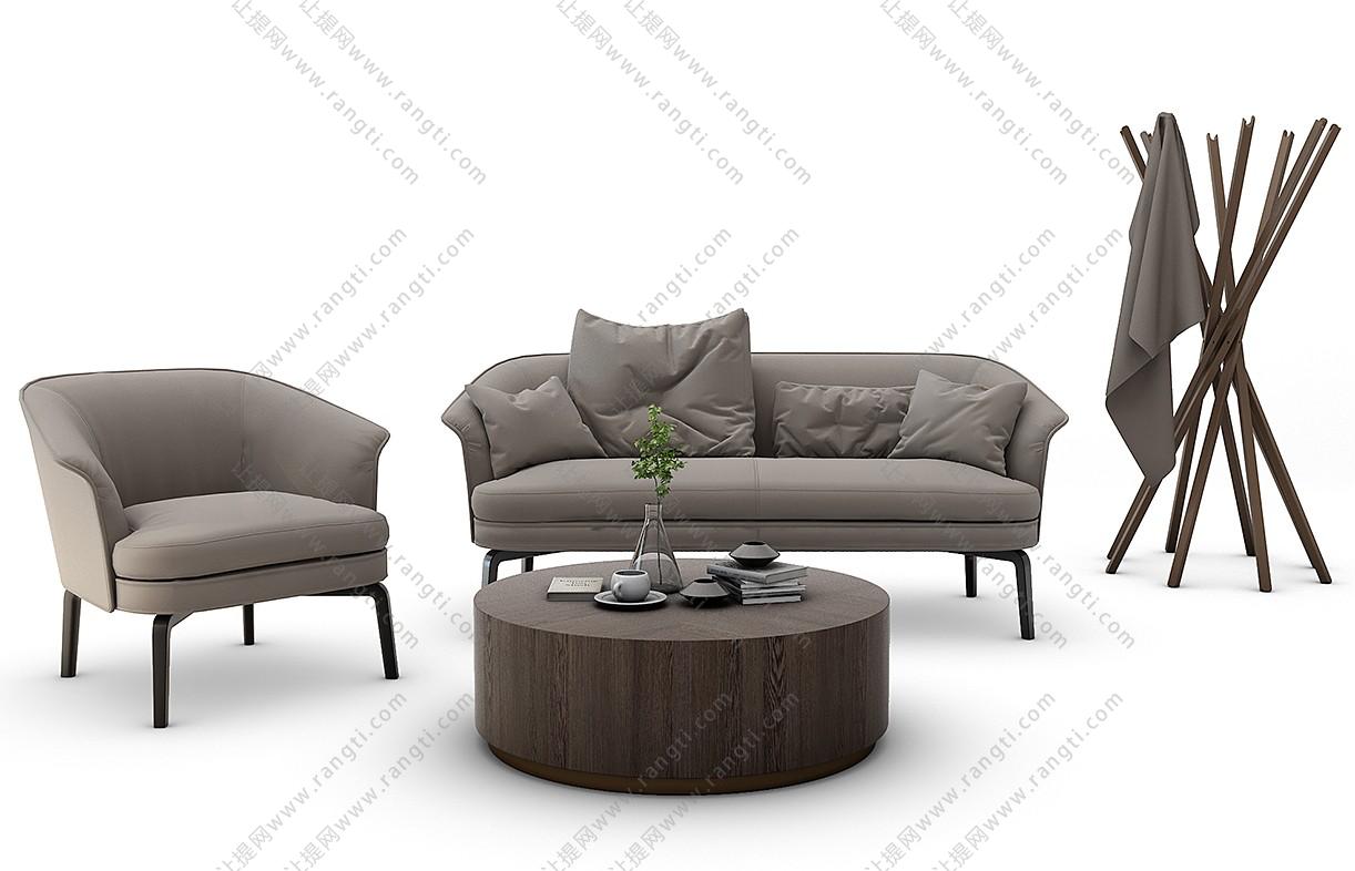 现代沙发、茶几、休闲椅和台灯组合3D模型