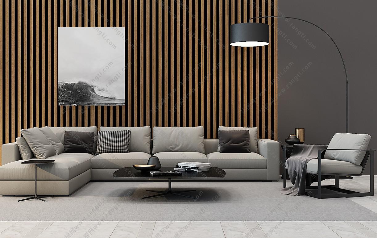 新中式沙发、茶几、圈椅和台灯组合3D模型下载