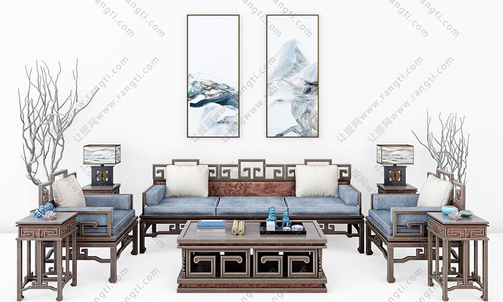 中式沙发、茶几、边几和台灯组合3D模型