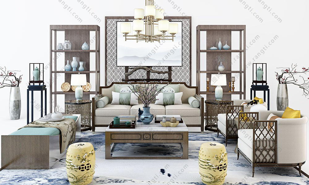 新中式沙发、茶几、美人榻和书架组合3D模型
