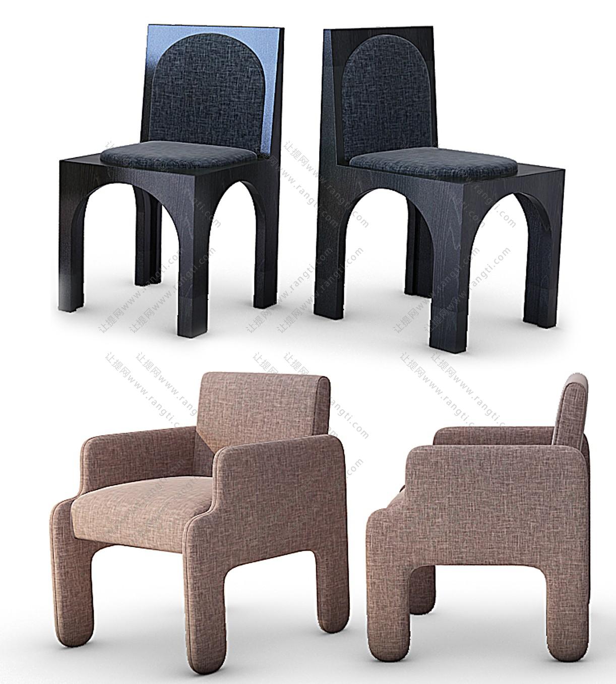 现代儿童休闲椅、儿童沙发组合3D模型