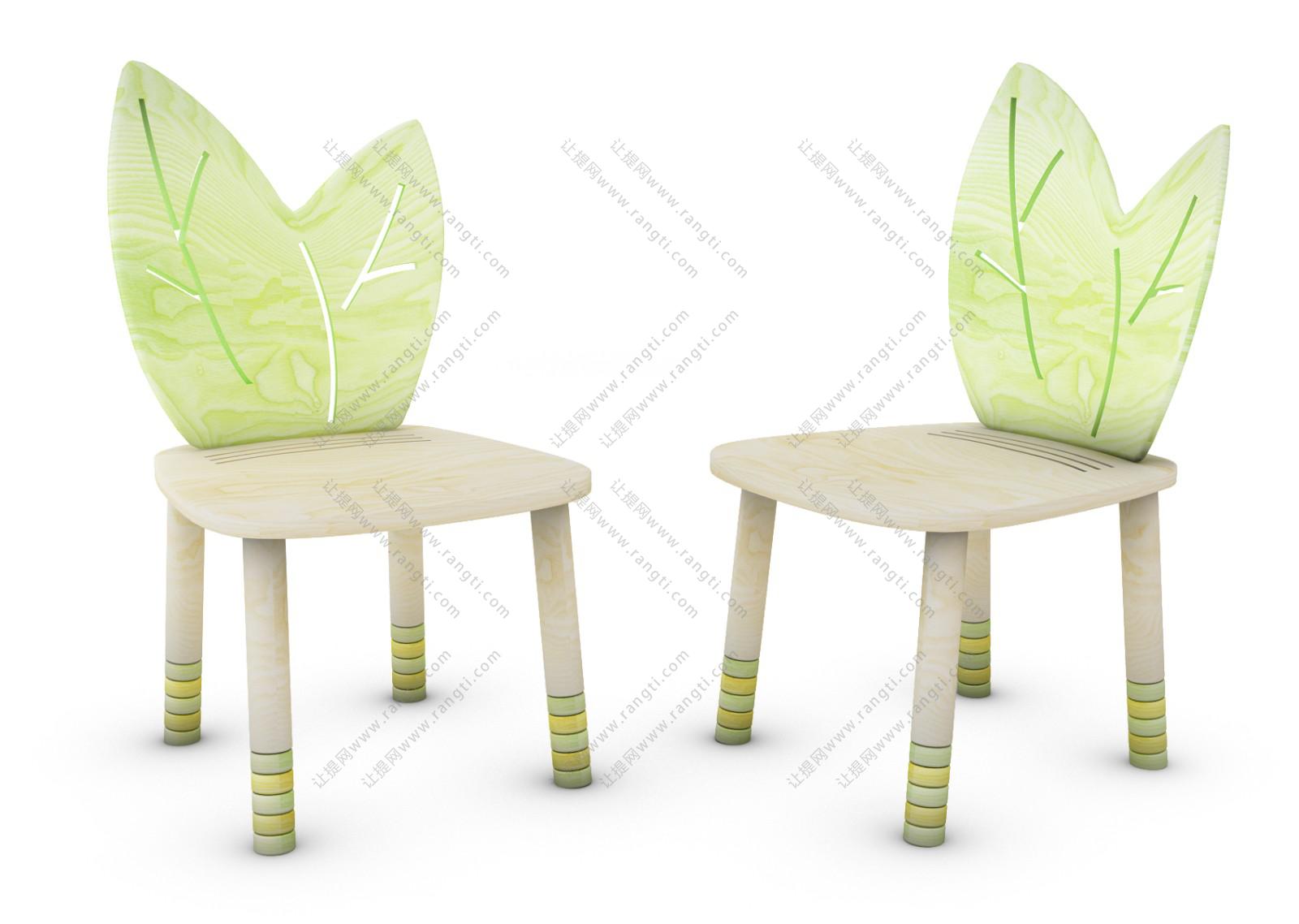 现代儿童树叶靠背休闲椅3D模型