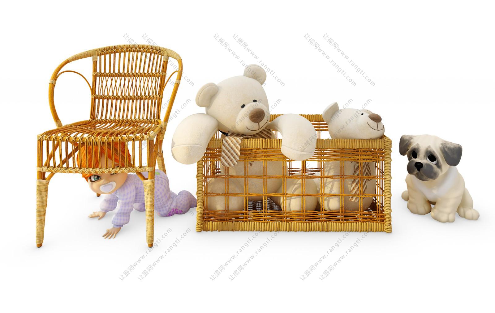 现代儿童藤编休闲椅、玩具娃娃组合3D模型