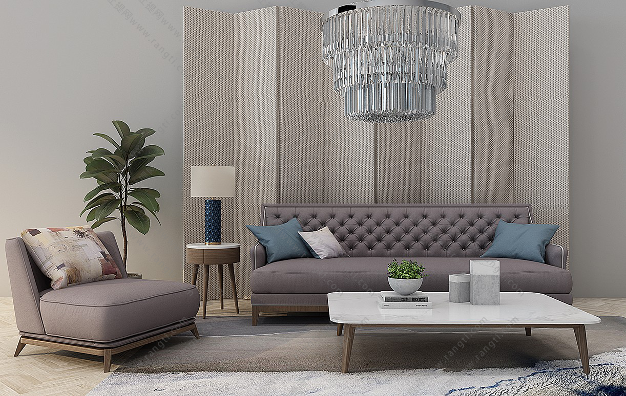 简欧沙发、茶几、边几和台灯组合3D模型下载
