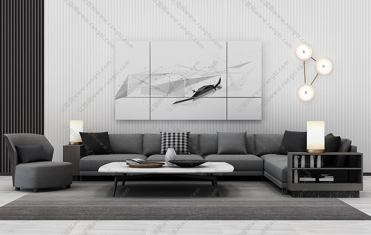 现代转角沙发、茶几、休闲椅和台灯组合3D模型下载