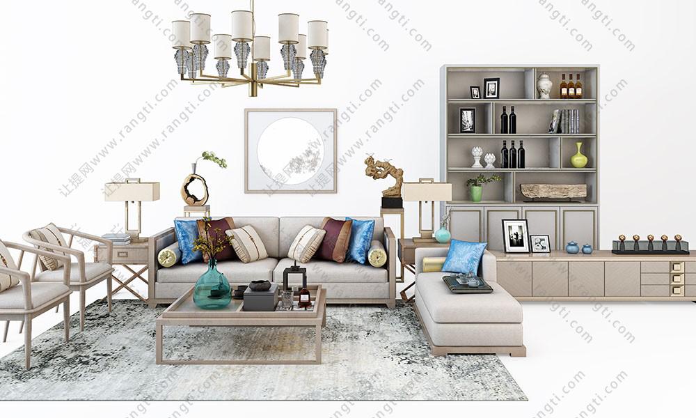 新中式沙发、茶几、边柜和台灯组合3D模型