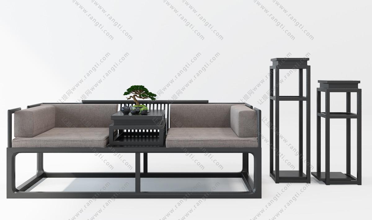 新中式床榻、罗汉床和边几组合3D模型