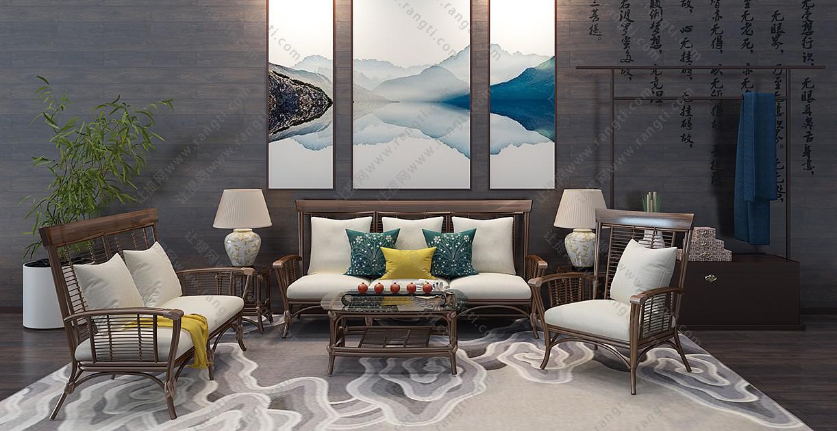 东南亚沙发、茶几、藤椅和台灯组合3D模型下载