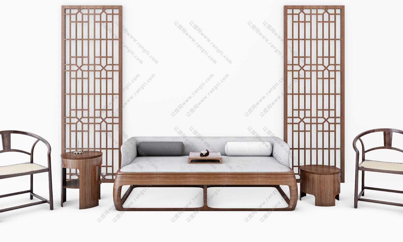新中式床榻、茶几、圈椅和坐墩组合3D模型下载