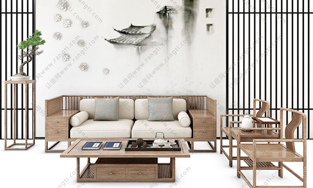 新中式沙发、茶几、休闲椅和花架盆景组合3D模型
