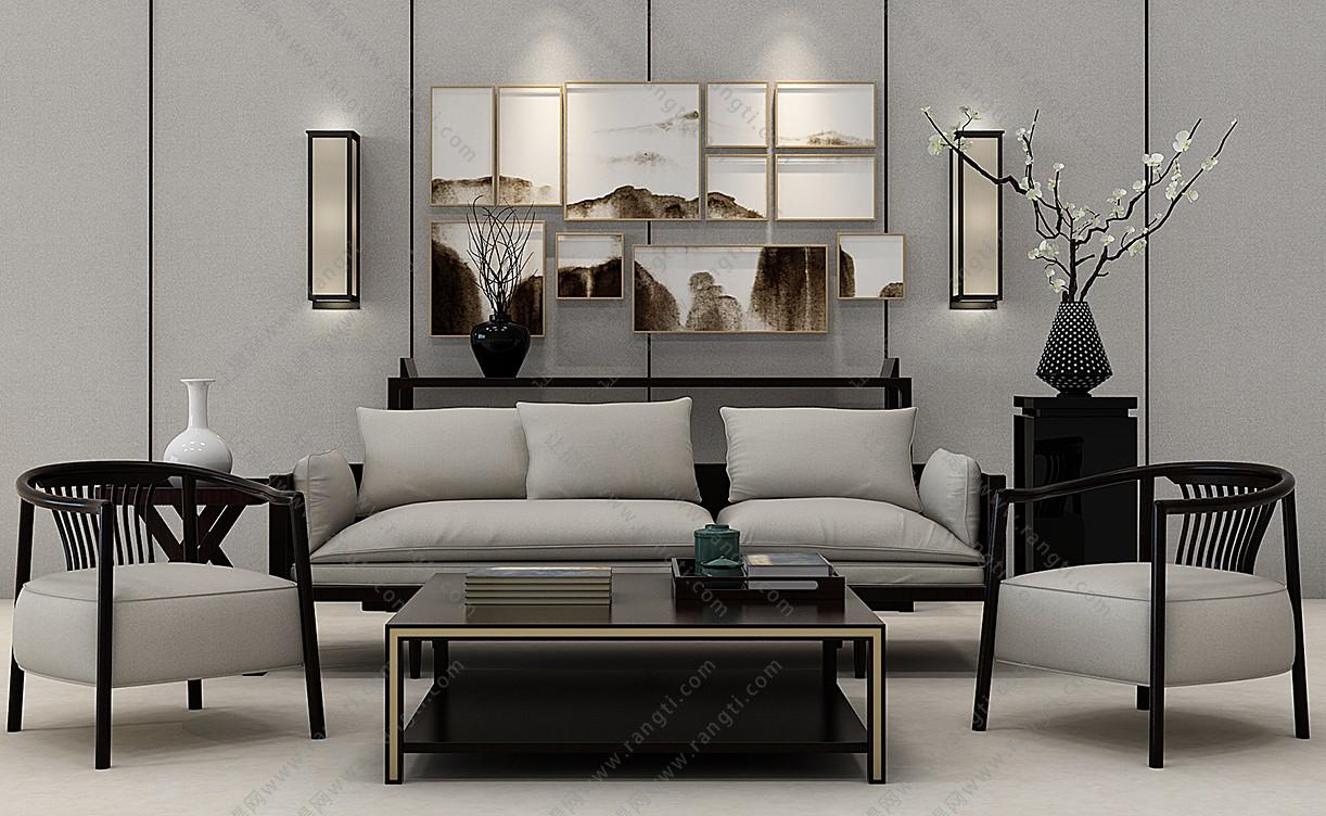 新中式沙发、茶几、休闲椅和壁灯组合3D模型下载