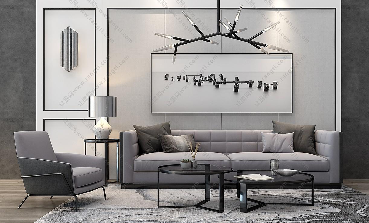 现代沙发、茶几,摆件和台灯组合3D模型
