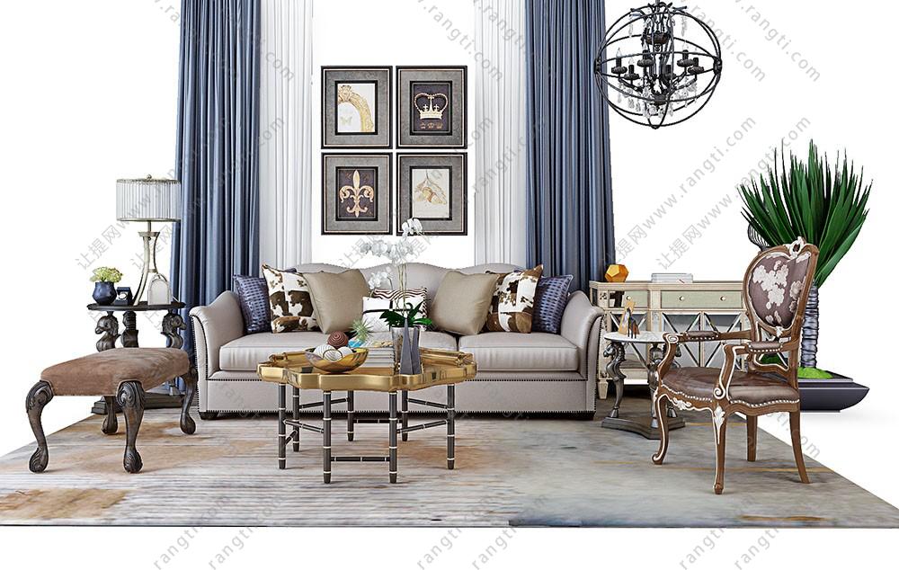 欧式古典沙发、茶几、坐凳和台灯组合3D模型下载
