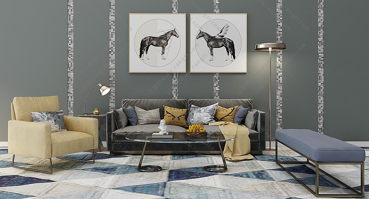 现代布艺沙发、茶几、挂画和台灯组合3D模型