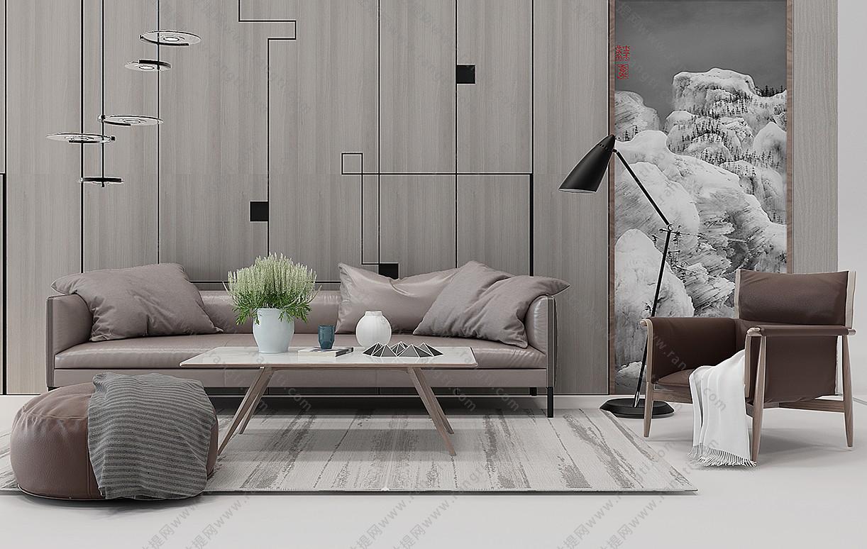 现代沙发、茶几和圆形坐墩组合3D模型