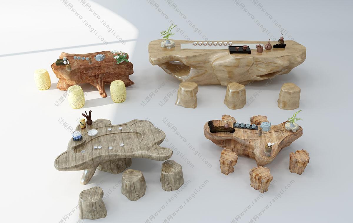 中式根雕茶海、茶桌和木桩坐墩组合3D模型