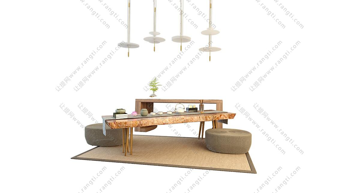 新中式原木茶桌、茶具和坐墩组合3D模型