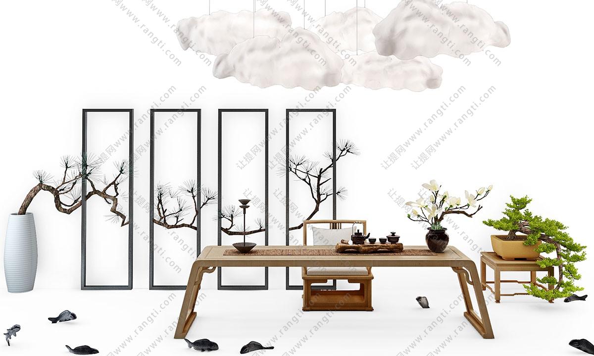 新中式茶案、盆景和椅子组合3D模型