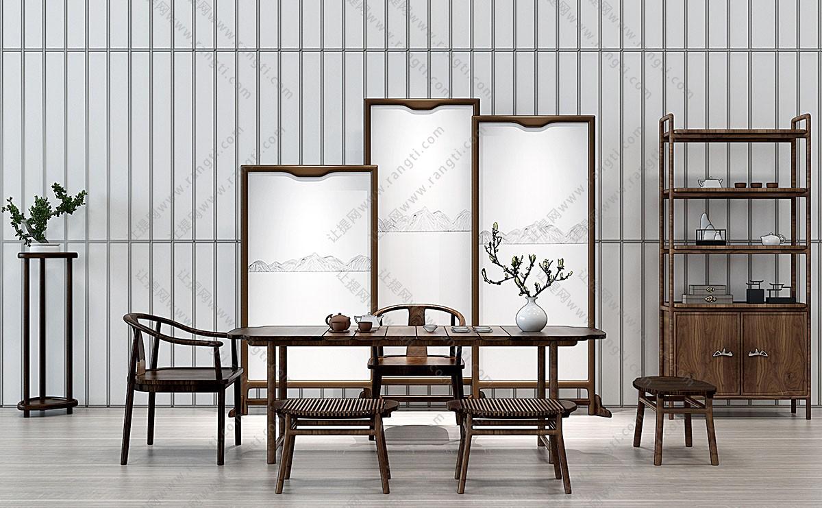 新中式茶桌椅、坐凳和装饰柜组合3D模型