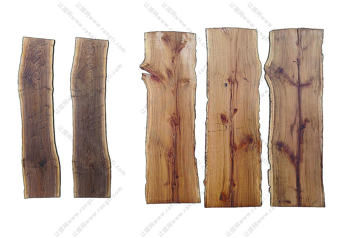 新中式原木木板桌面组合3D模型下载