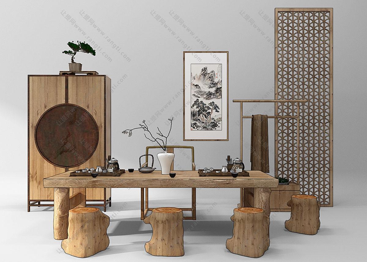 新中式茶桌椅、木桩坐墩和装饰柜组合3D模型