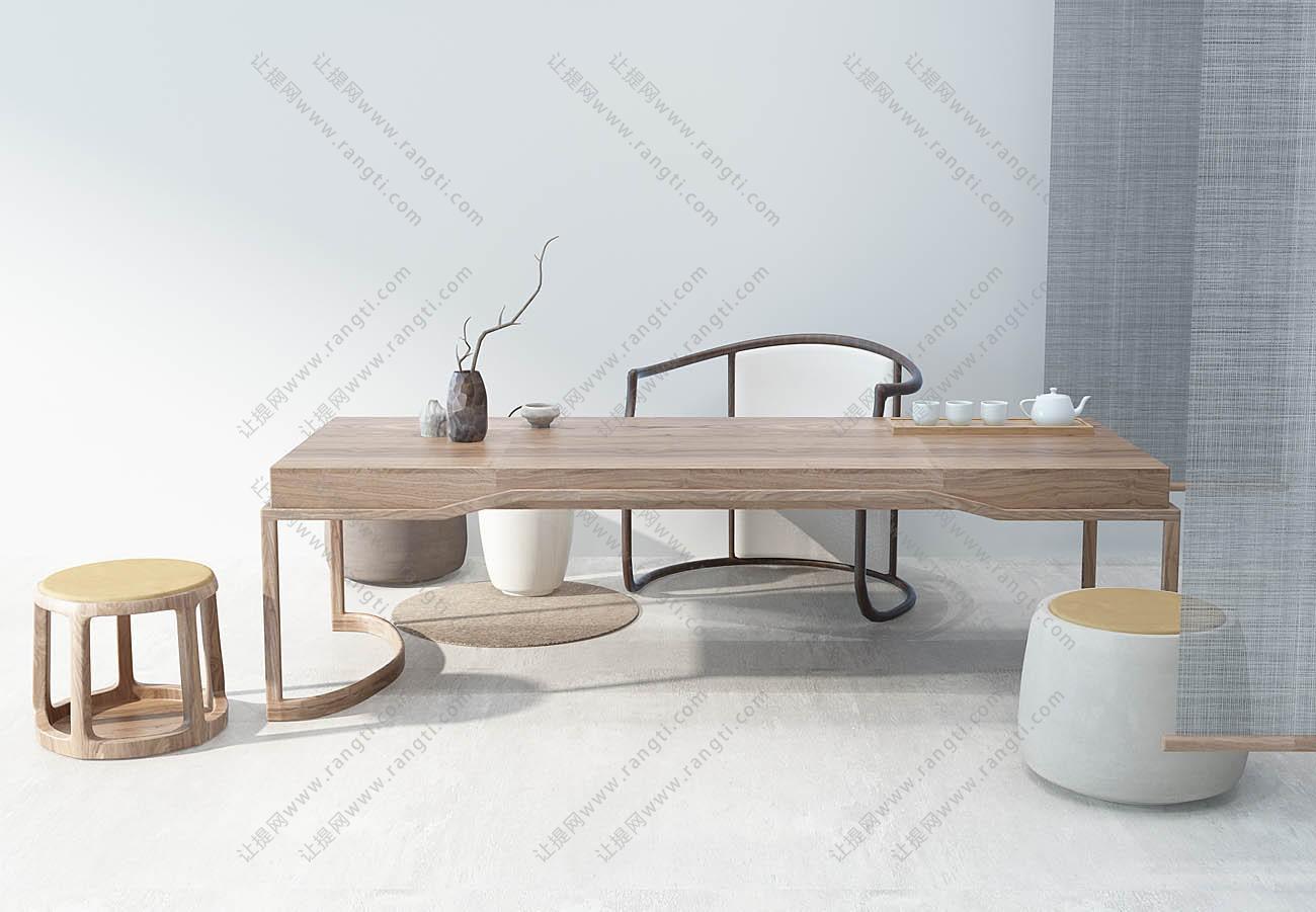 新中式茶桌、坐墩和圈椅组合3D模型