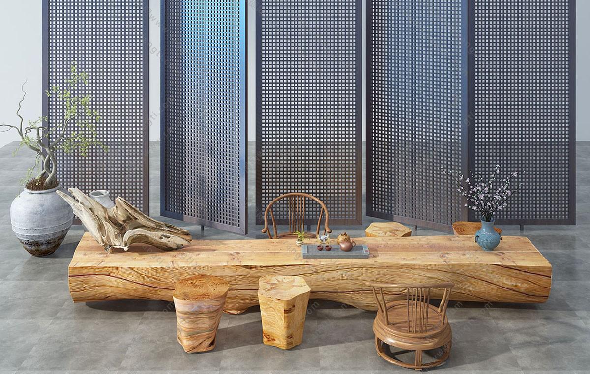 新中式根雕木头茶盘、树桩茶桌椅组合3D模型