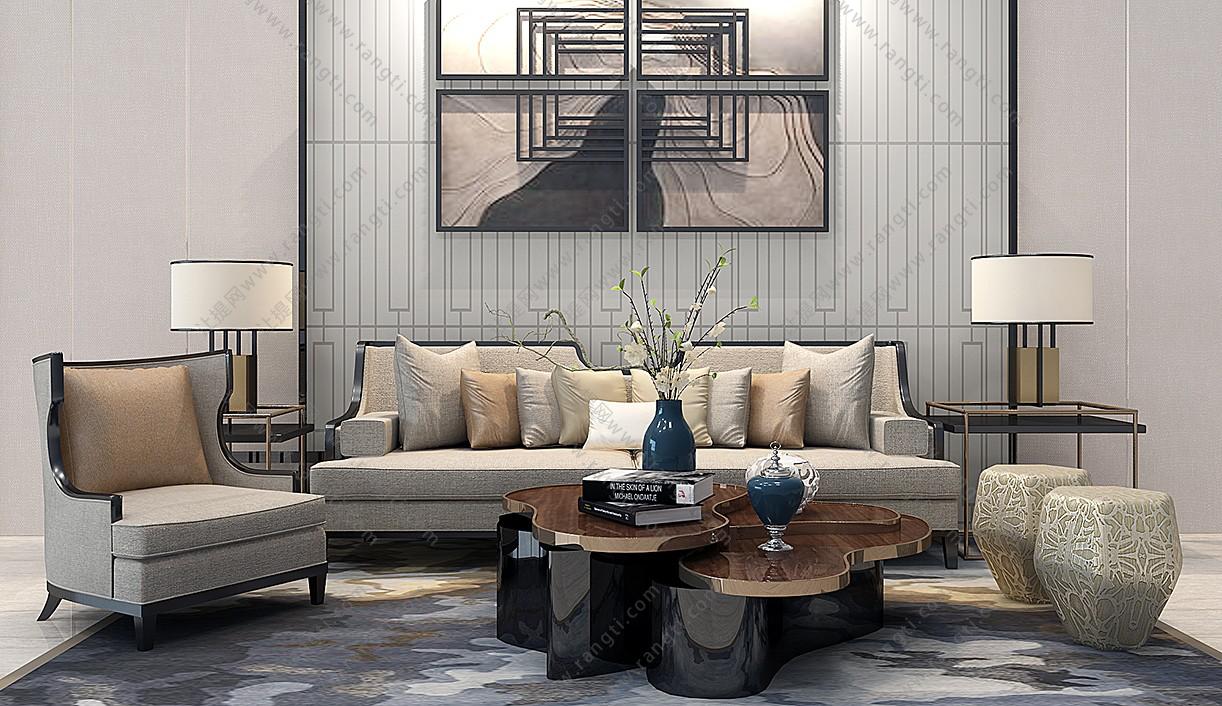 新中式沙发、茶几、休闲椅和台灯组合3D模型下载