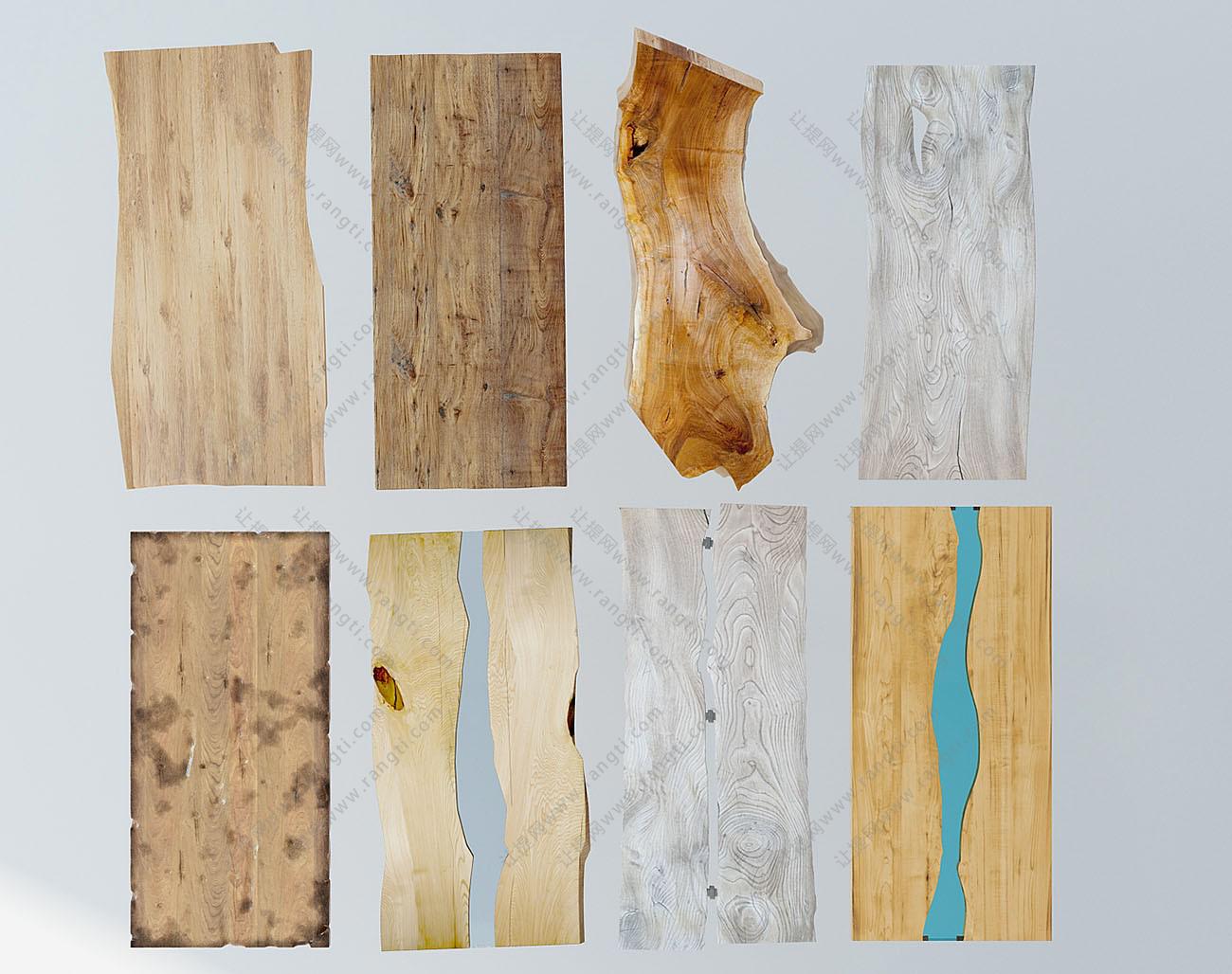 新中式原木、实木桌面、台面组合3D模型