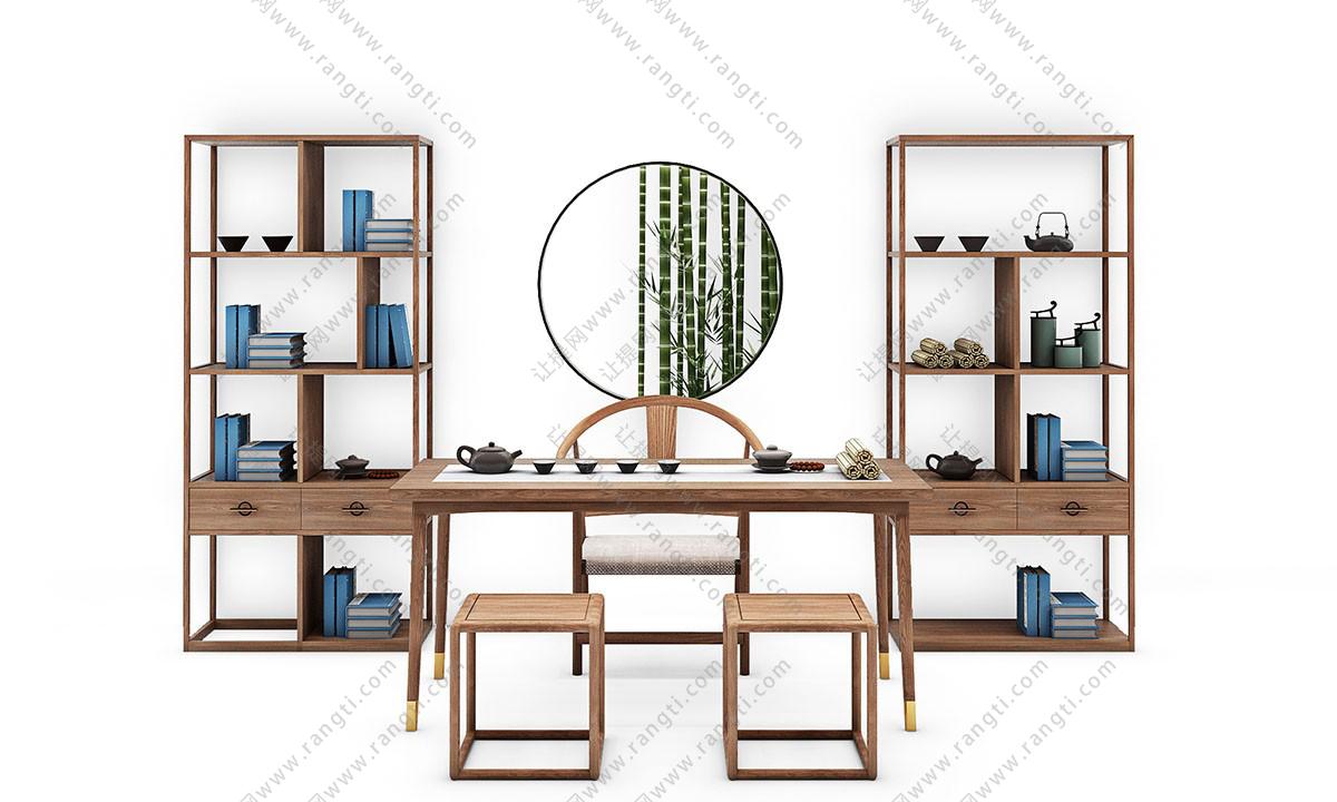 新中式茶案、圈椅、装饰架和坐凳组合3D模型下载