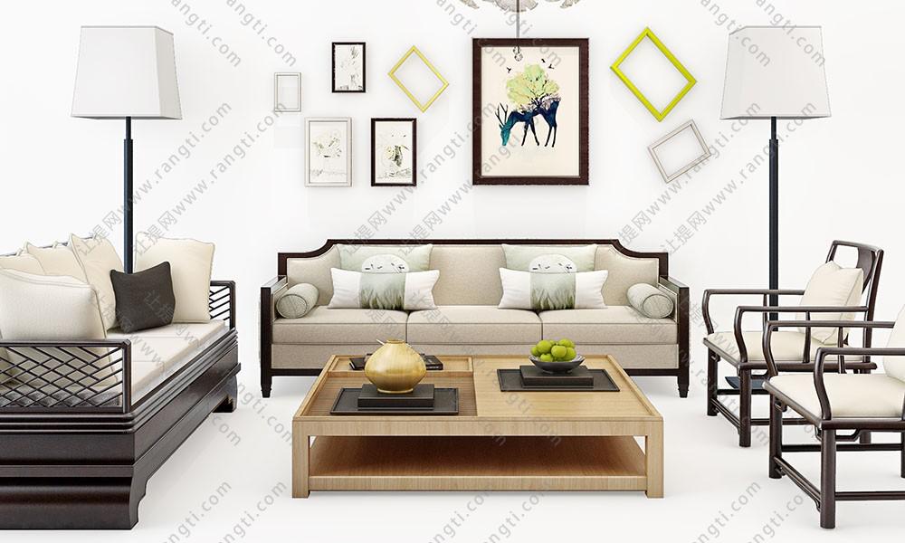 新中式沙发、茶几和落地灯组合3D模型