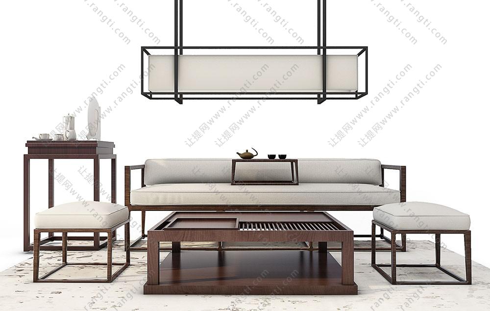 新中式沙发、茶几、方形坐墩和吊灯组合3D模型