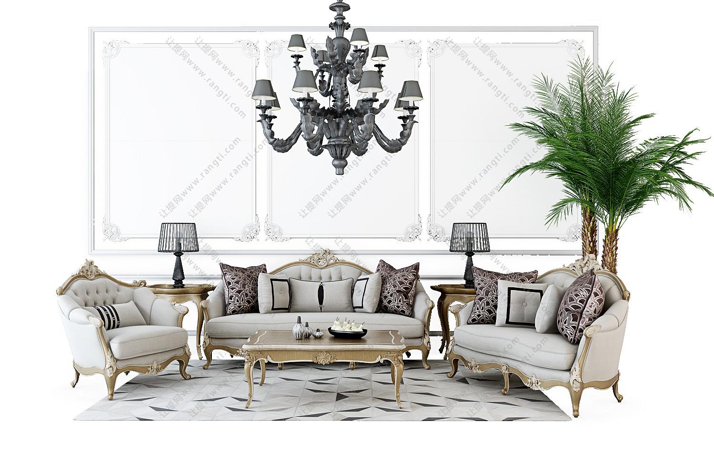 欧式沙发、茶几、古典沙发和台灯组合3D模型