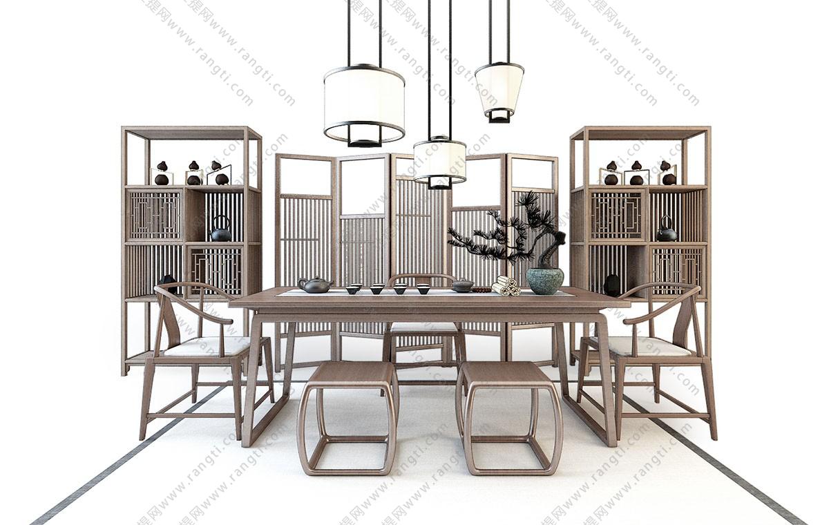新中式茶桌椅、茶具和装饰柜组合3D模型