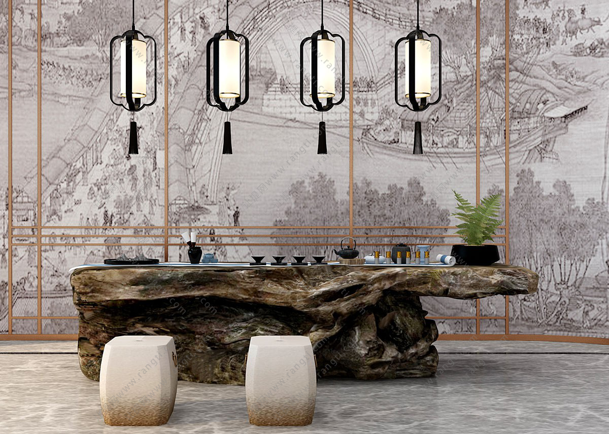 新中式老木桩树根茶桌、坐墩组合3D模型