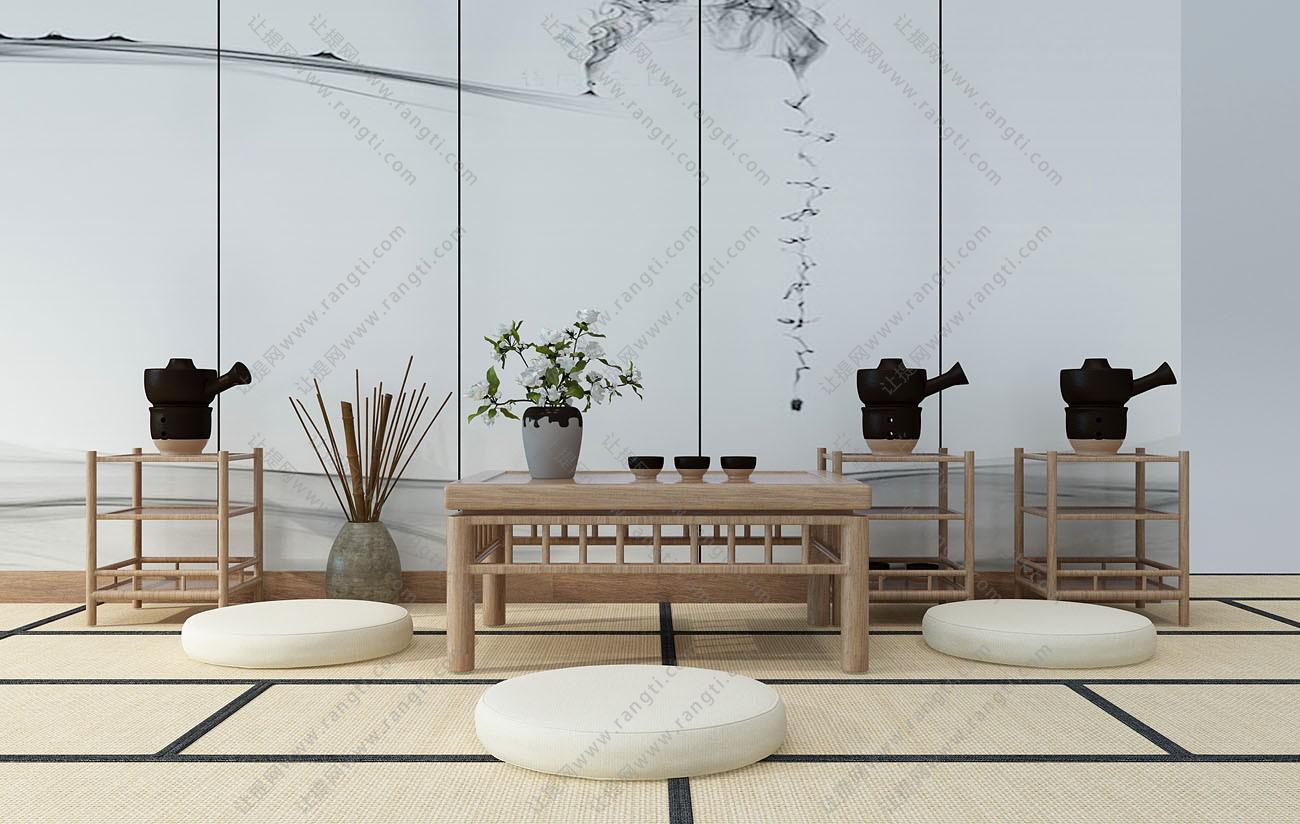 日式茶桌、蒲团和榻榻米组合3D模型