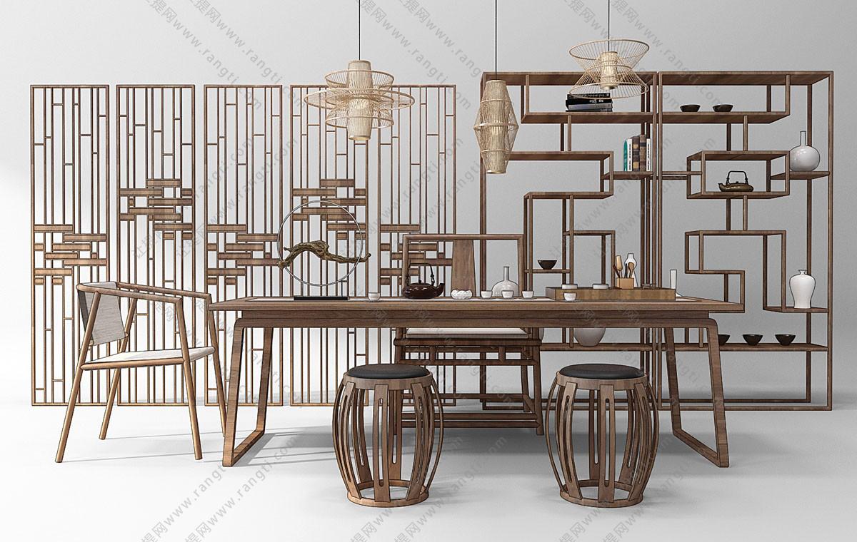新中式茶桌椅、茶具和镂空鼓凳组合3D模型