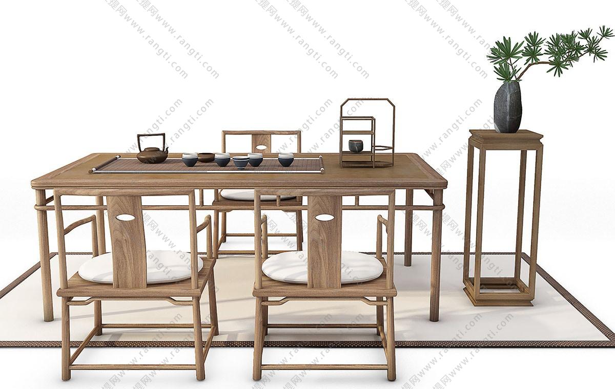 新中式茶桌椅、茶具和花架组合3D模型